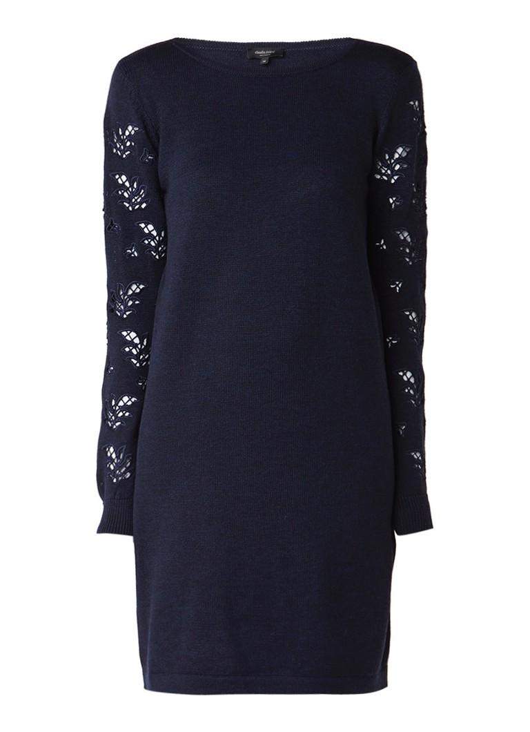 Claudia Sträter Fijngebreide jurk van merinowol met broderie donkerblauw