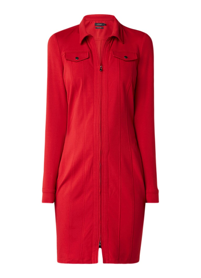 Claudia Sträter Jersey blousejurk met ritssluiting rood