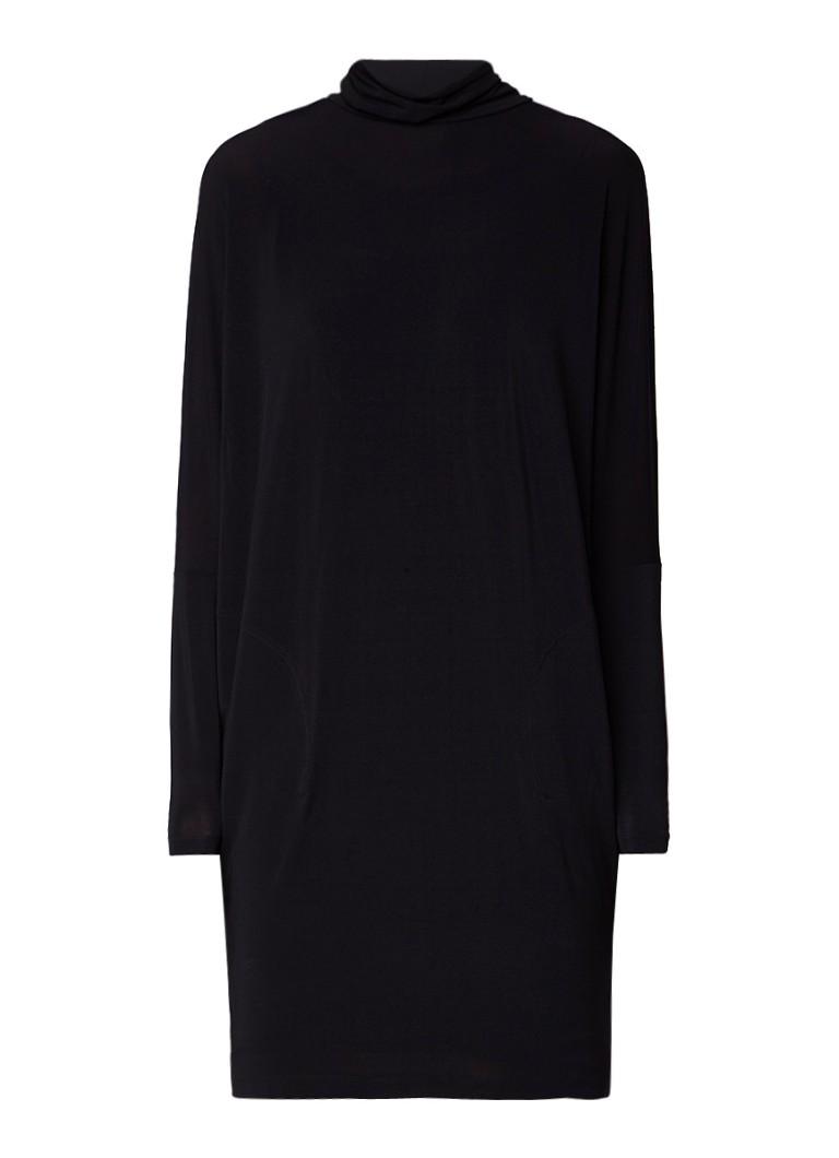 Claudia Sträter Dubbellaagse midi-jurk met stretch en col zwart