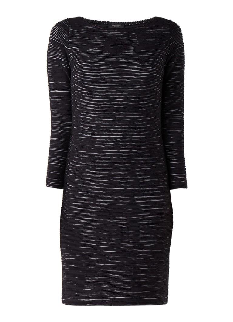 Claudia Sträter Ribgebreide midi-jurk in katoenblend zwart