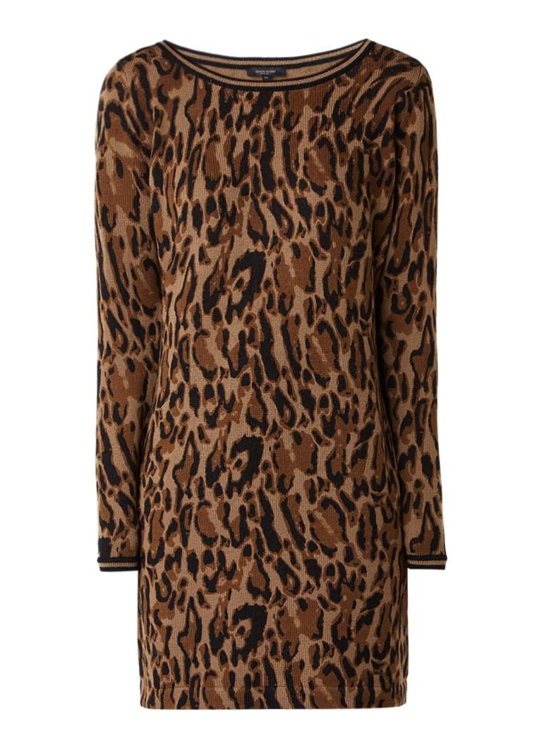 Claudia Sträter Fijngebreide midi-jurk van merinowol met luipaarddessin camel