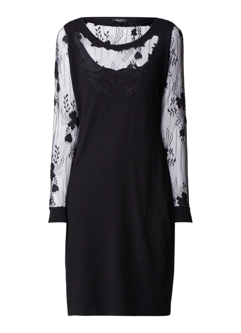 Claudia Sträter Fijngebreide jurk met inzet van kant zwart