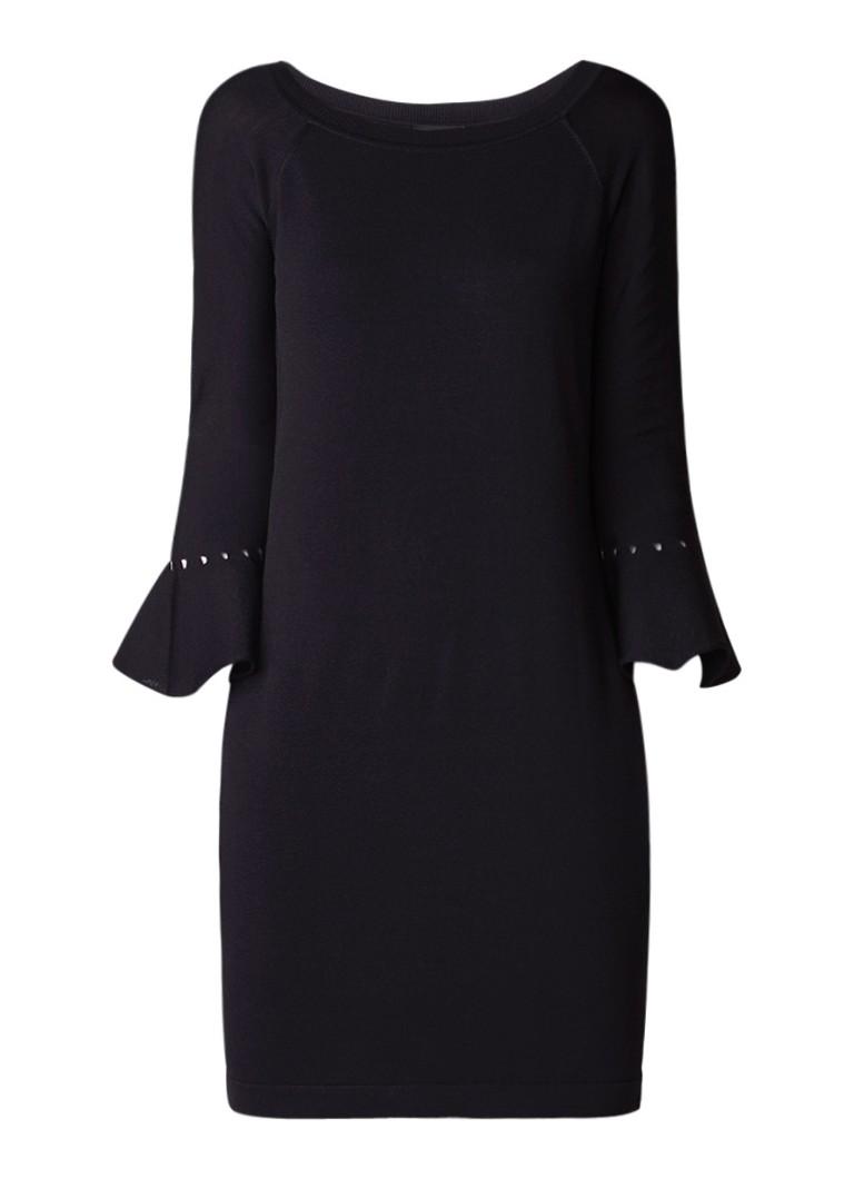 Claudia Sträter Fijngebreide jurk met trompetmouw zwart