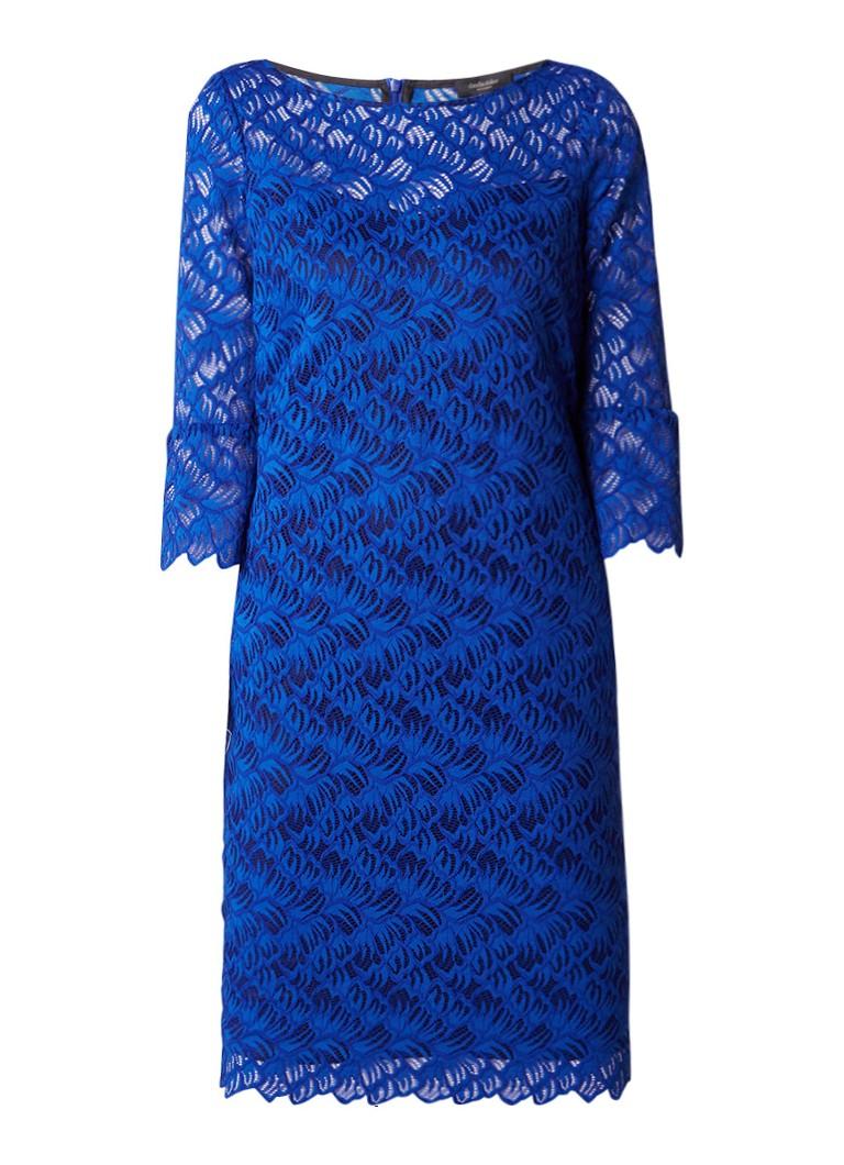 Claudia Sträter Semi-transparante midi-jurk van gebloemd kant kobaltblauw