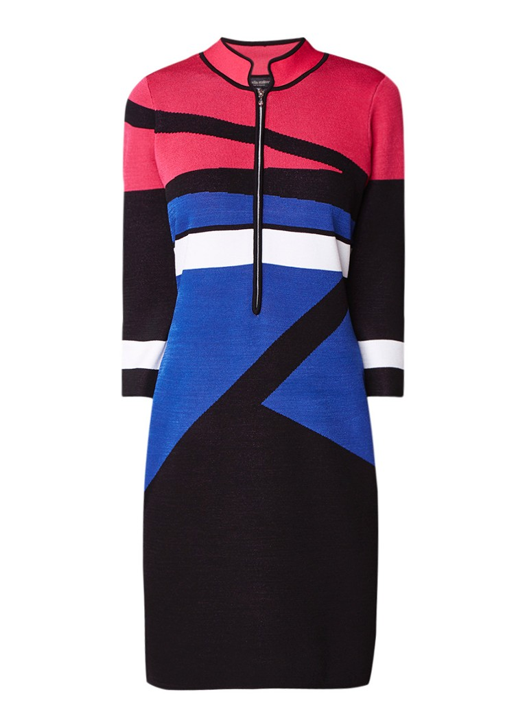Claudia Sträter Kokerjurk van jersey met colour blocking kobaltblauw