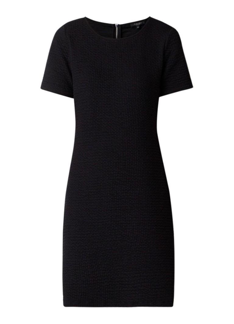 Claudia Sträter Midi-jurk van jersey met structuur zwart