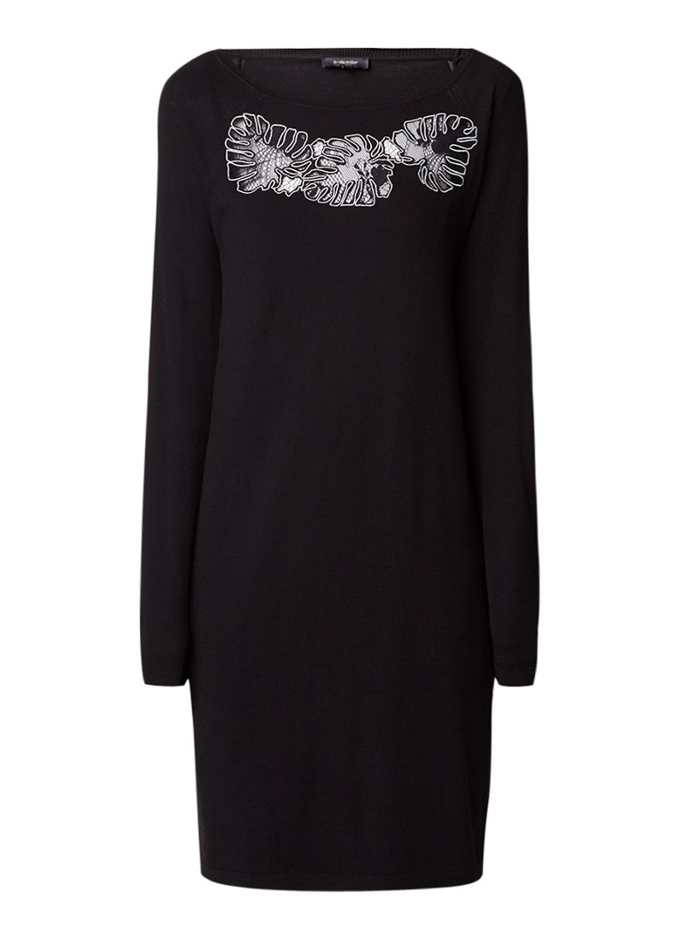 Claudia Sträter Midi-jurk met borduring en inzet van kant zwart