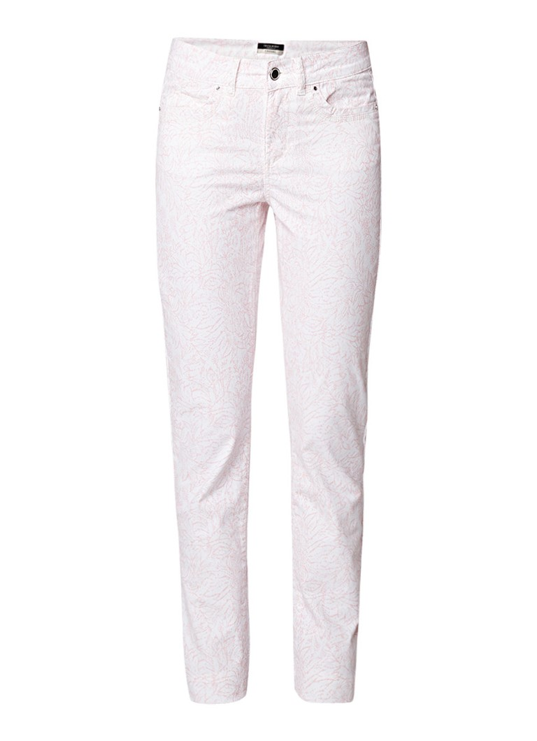 Claudia Sträter High rise slim fit 5-pocket chino met dessin