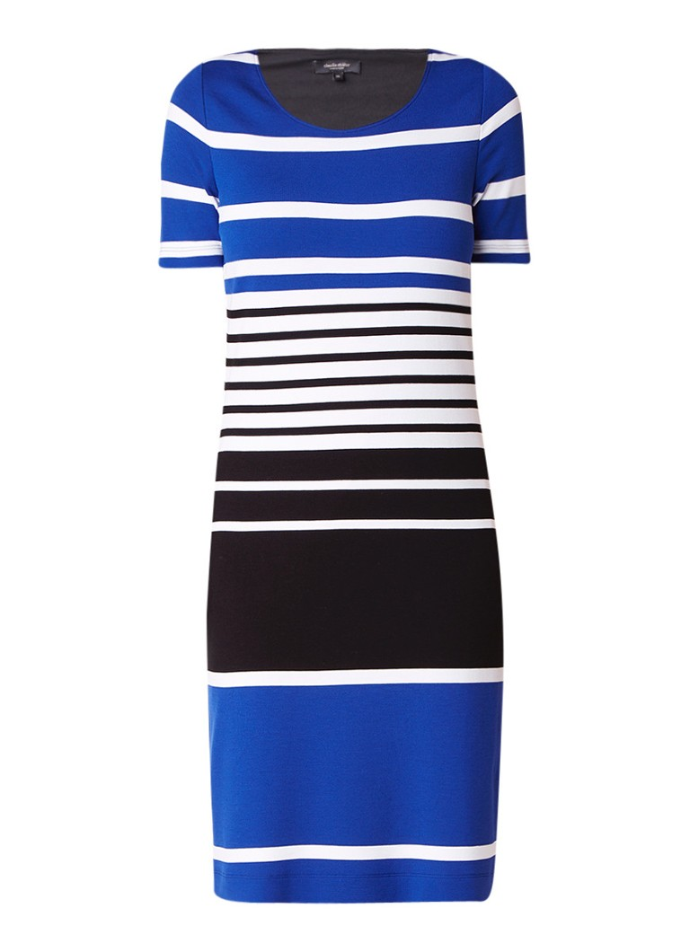 Claudia Sträter Midi-jurk met streepdessin kobaltblauw