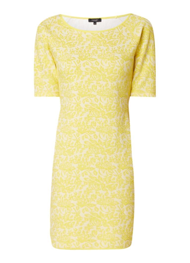 Claudia Sträter Midi-jurk met halflange mouw en ingeweven bloemendessin citroengeel