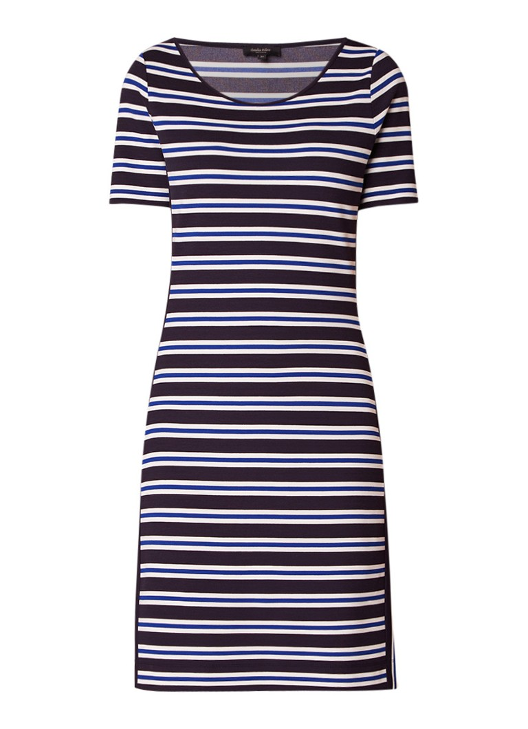 Claudia Sträter Midi-jurk met streepdessin donkerblauw