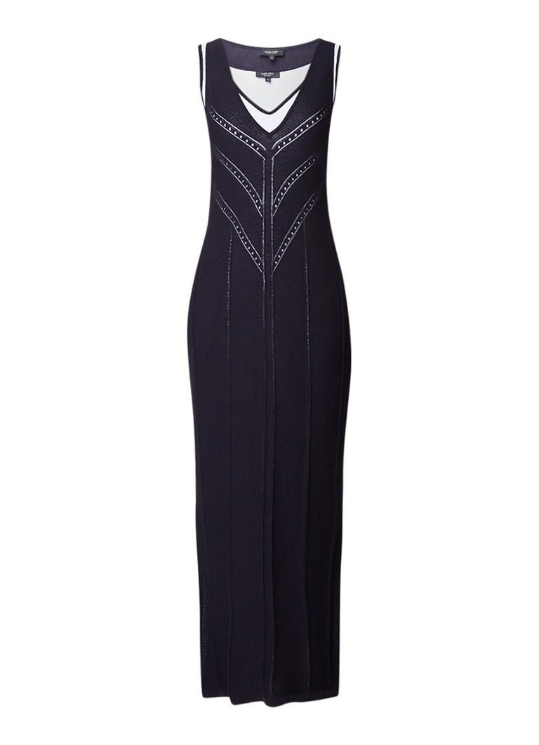 Claudia Sträter Fijngebreide maxi-jurk met contrastvoering donkerblauw