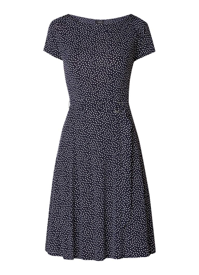 Claudia Sträter A-lijn jurk met stippendessin en strikceintuur blauw