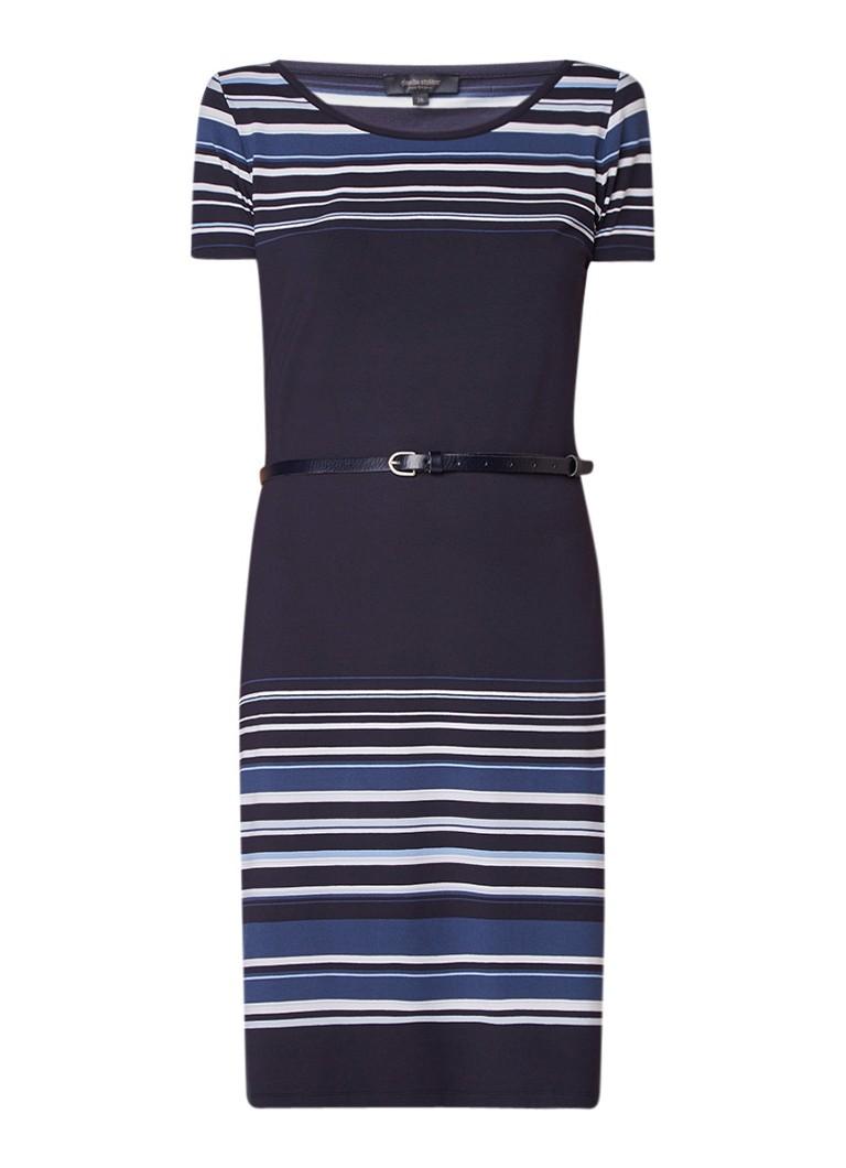 Claudia Sträter Midi-jurk van jersey met streepdessin en ceintuur donkerblauw