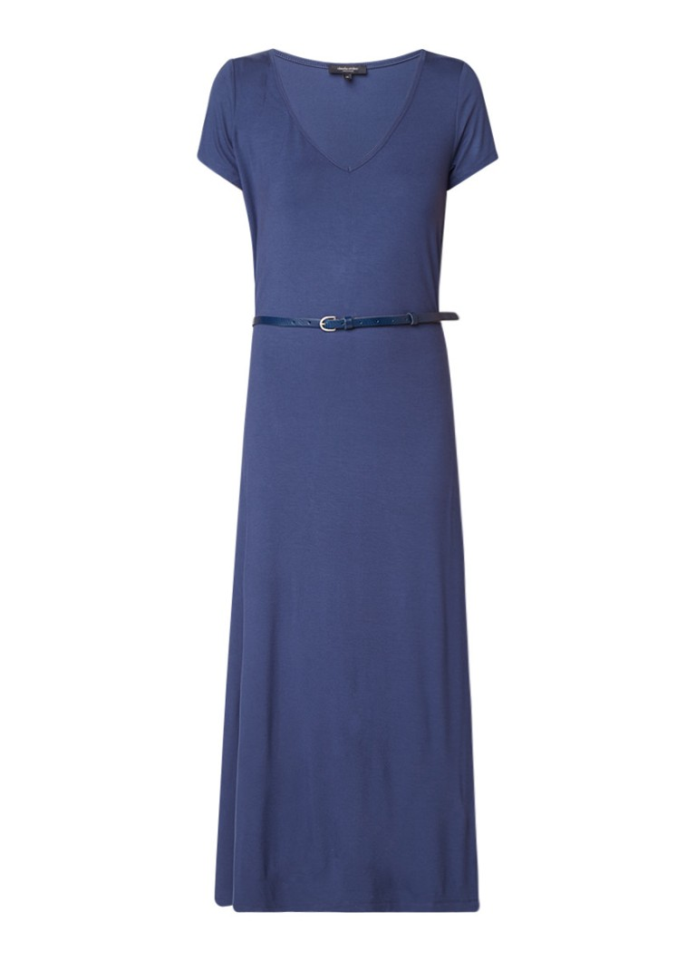 Claudia Sträter Maxi-jurk van jersey met ceintuur donkerblauw