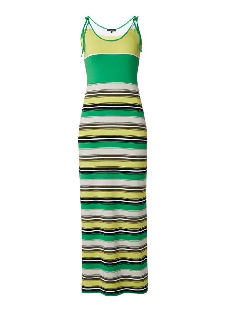 Claudia Sträter Maxi-jurk met split en streepdessin lime