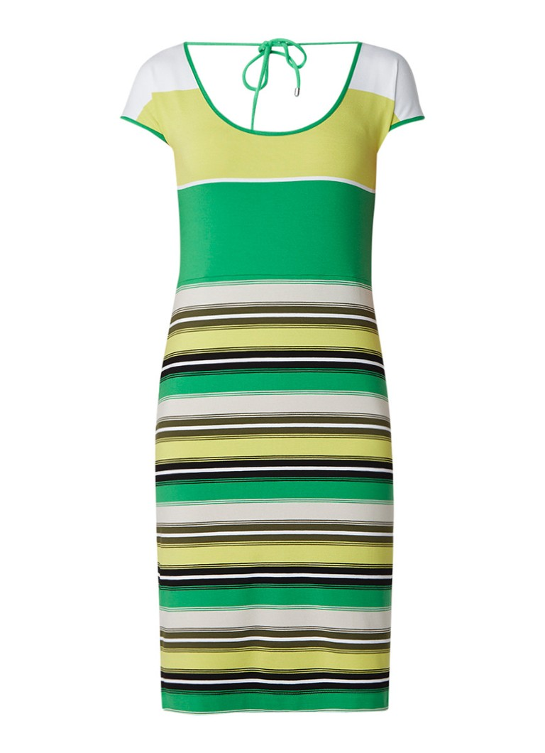 Claudia Sträter Midi-jurk van jersey met streepdessin groen