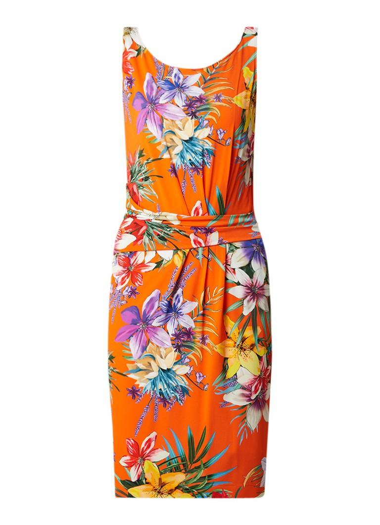 Claudia Sträter Midi-jurk van jersey met tropisch bloemendessin oranje