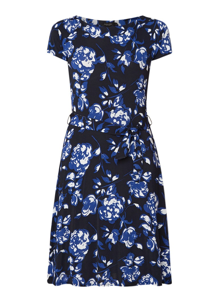 Claudia Sträter A-lijn jurk van crêpe met bloemendessin donkerblauw