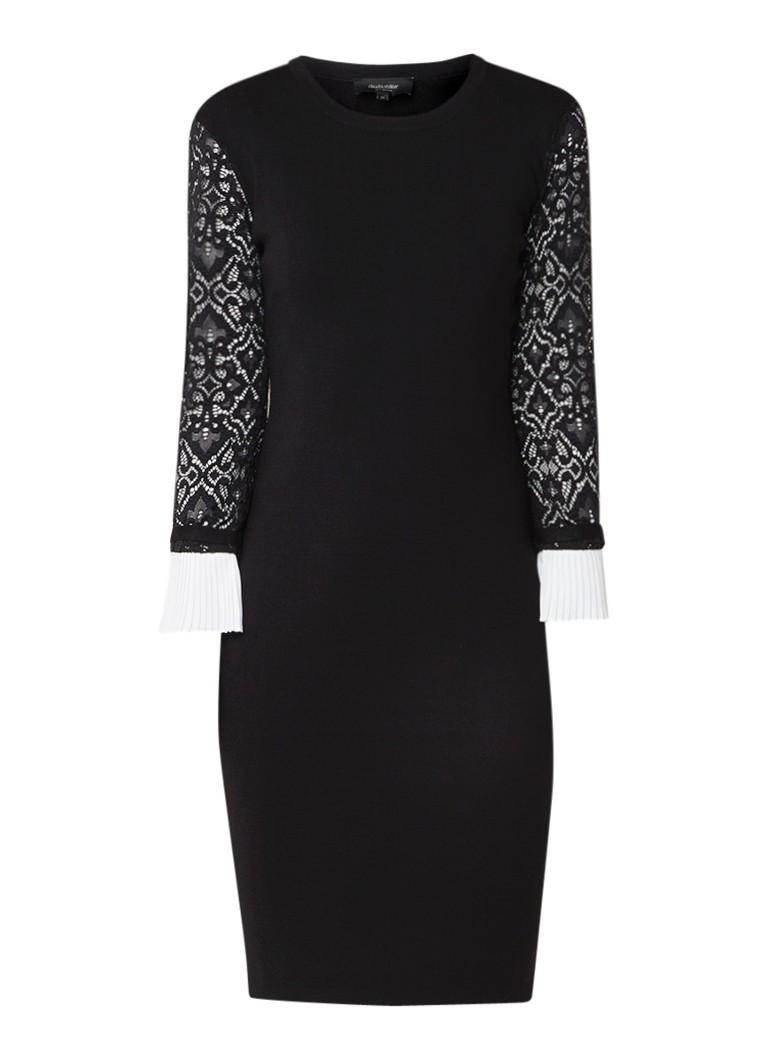 Claudia Sträter Fijngebreide jurk met mouwen van kant zwart