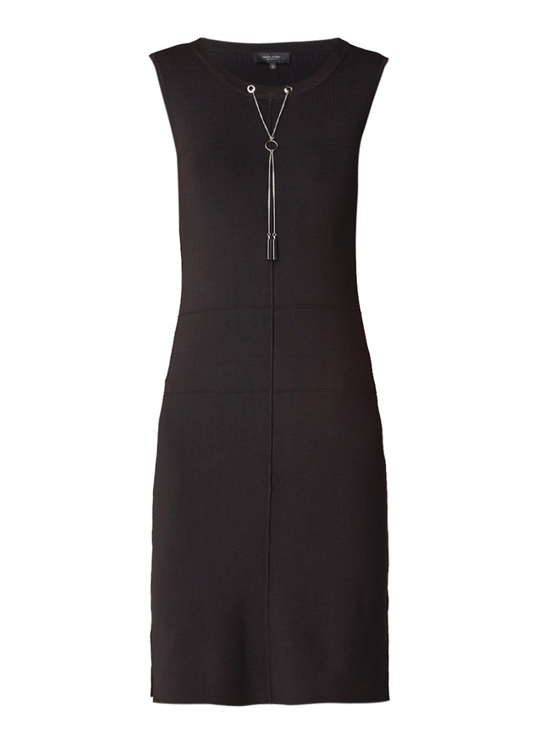 Claudia Sträter Fijngebreide jurk met kettingdetail zwart