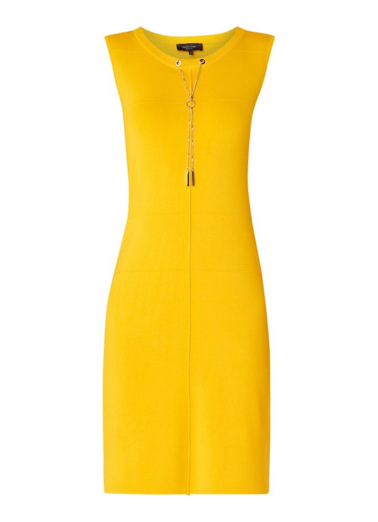 Claudia Sträter Fijngebreide jurk met kettingdetail geel