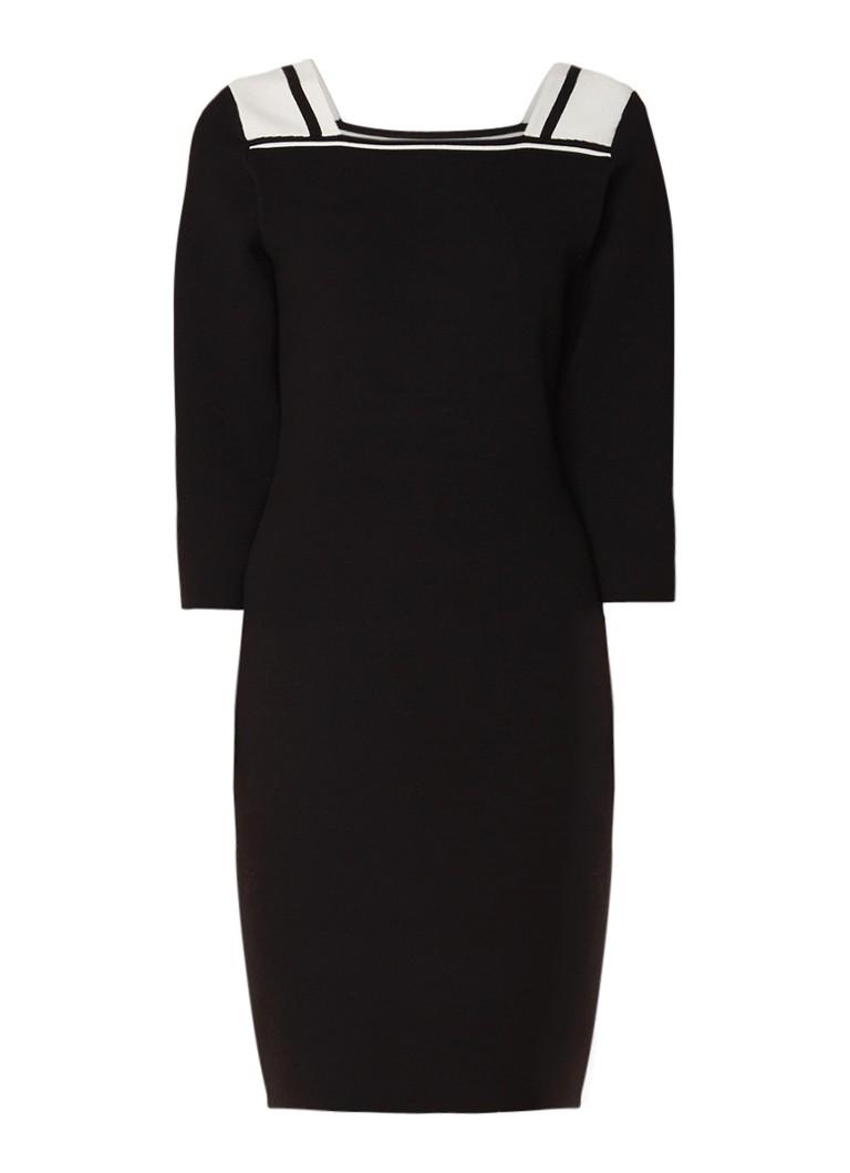 Claudia Sträter Fijngebreide midi-jurk met driekwart mouw diepzwart
