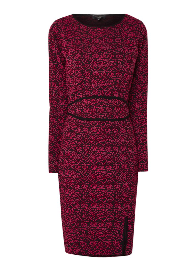 Claudia Sträter Midi-jurk met ingeweven structuur en strikceintuur fuchsia