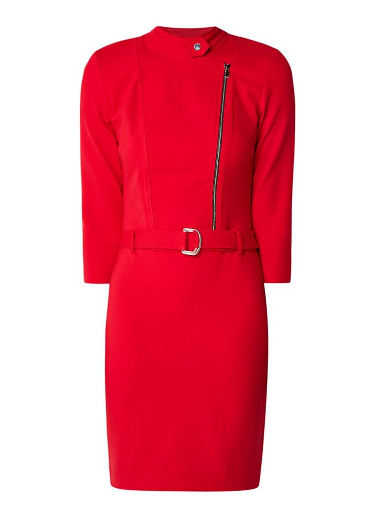 Claudia Sträter Midi-jurk van jersey met rits en ceintuursluiting rood