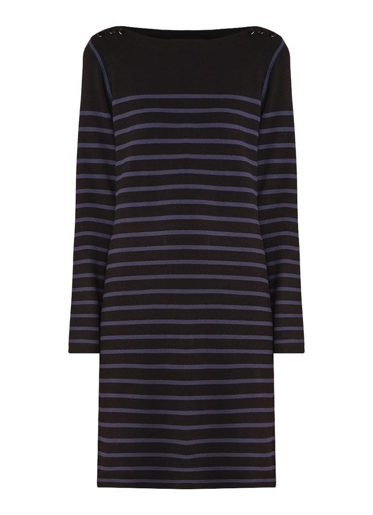 Claudia Sträter Fijngebreide jurk met streepdessin en stretch indigo