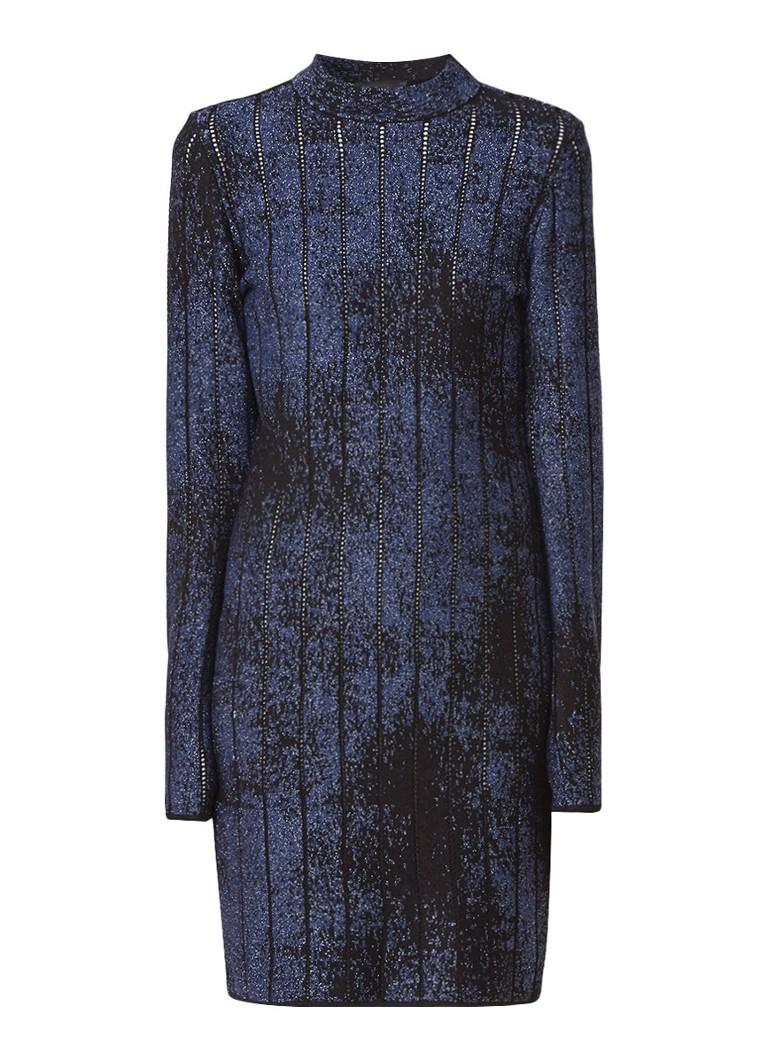 Claudia Sträter Fijngebreide kokerjurk met lurex detail donkerblauw