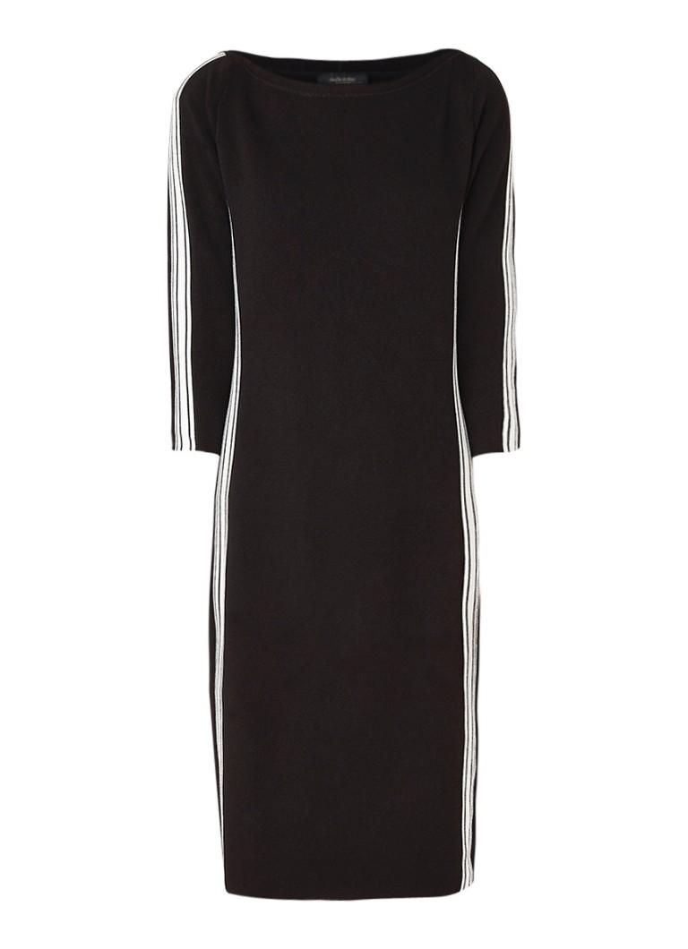 Claudia Sträter Fijngebreide jurk met contrastbies zwart