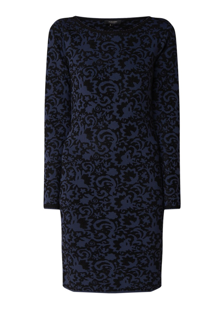 Claudia Sträter Fijngebreide midi-jurk met dessin donkerblauw