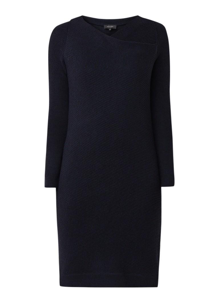 Claudia Sträter Fijngebreide jurk van merino wol donkergroen