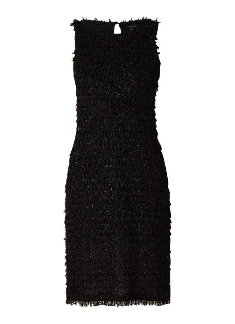 Claudia Sträter Mouwloze jurk met franjes en keyhole zwart