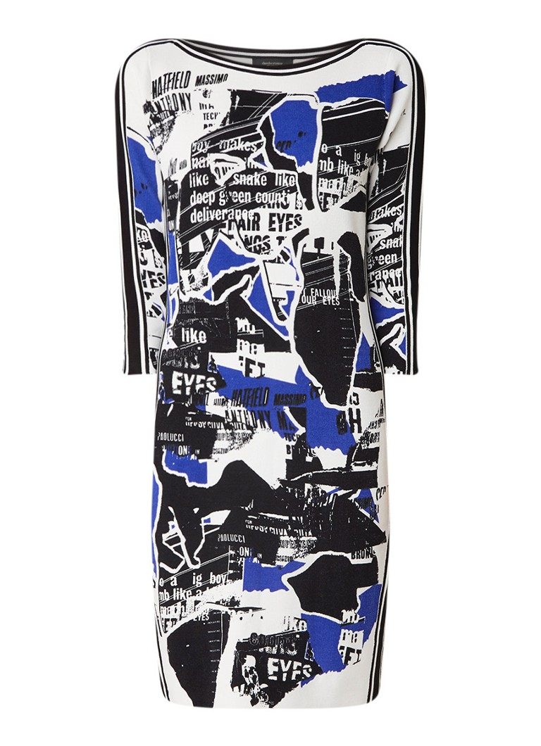 Claudia Sträter Fijngebreide midi-jurk met dessin blauw