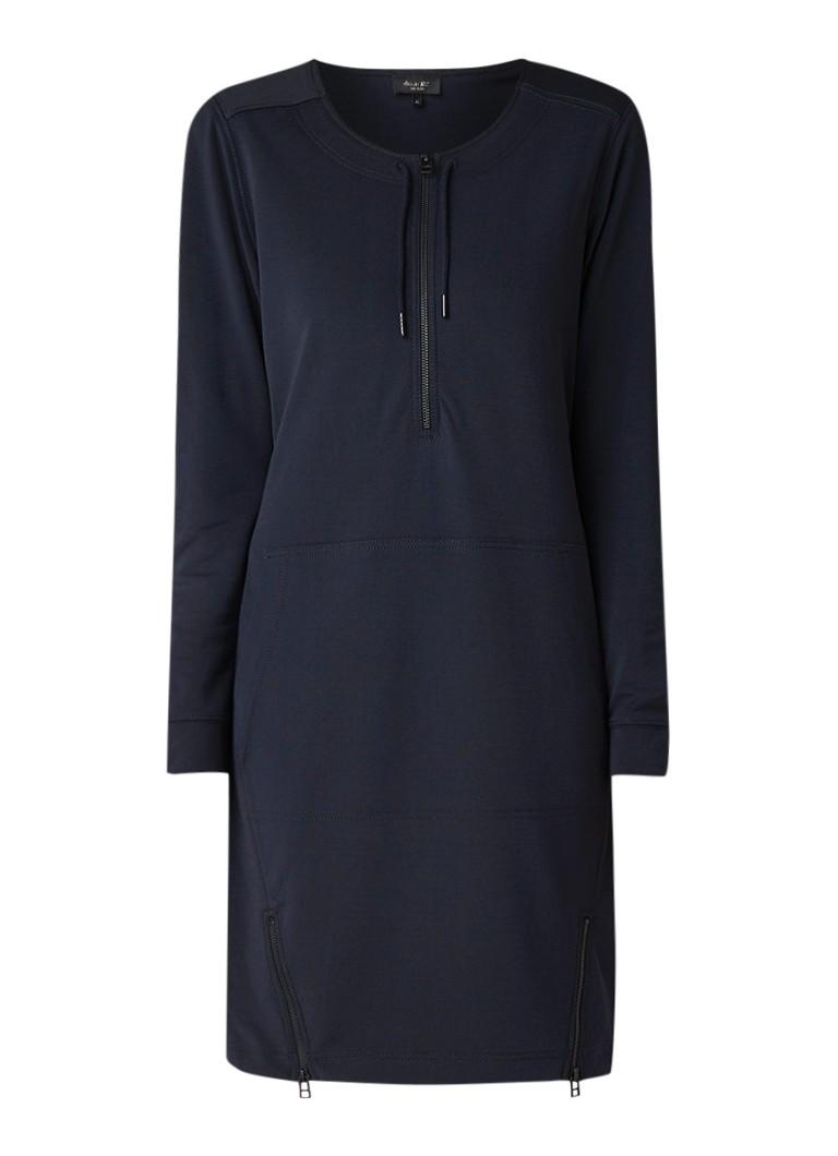 Claudia Sträter Midi-jurk van jersey met buidelzak en ritsdetail donkerblauw