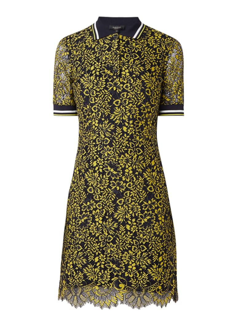 Claudia Sträter Midi-jurk van kant met polokraag geel