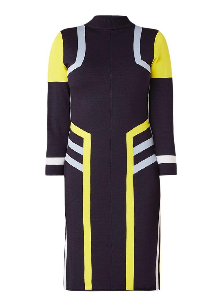 Claudia Sträter Fijngebreide bodycon jurk met colour blocking donkerblauw