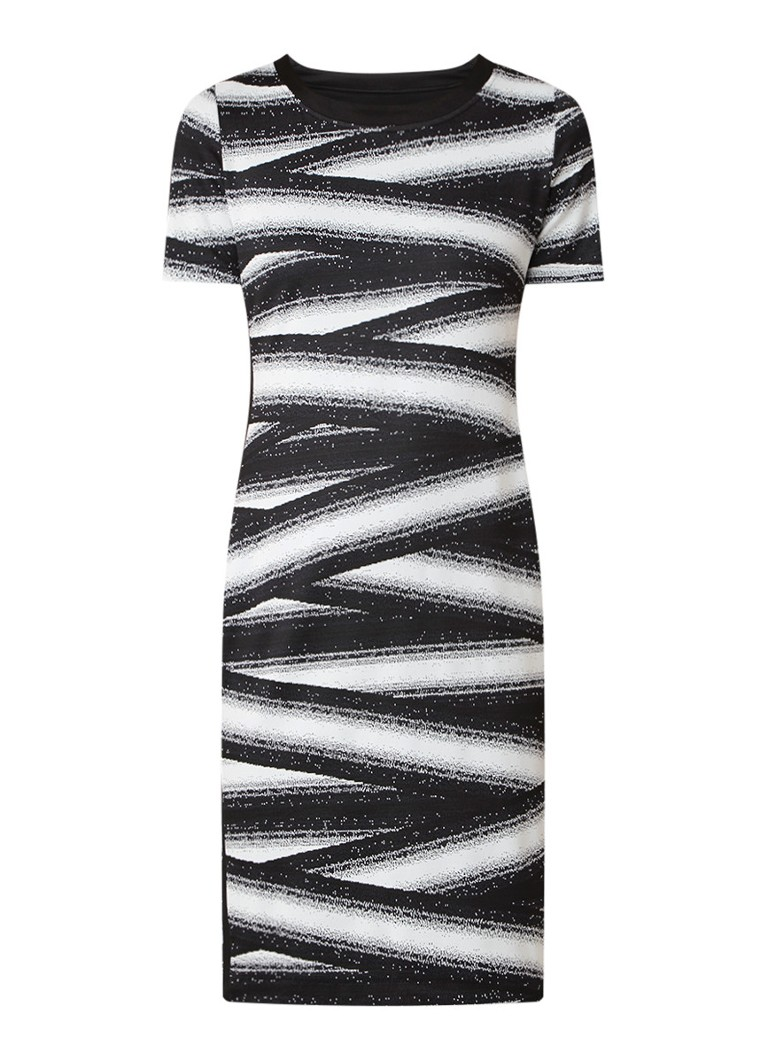 Claudia Sträter Gebreide jurk met dessin zwart