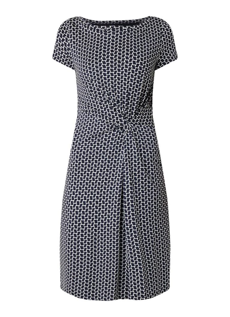 Claudia Sträter Loose fit jurk met geknoopt detail en dessin donkerblauw