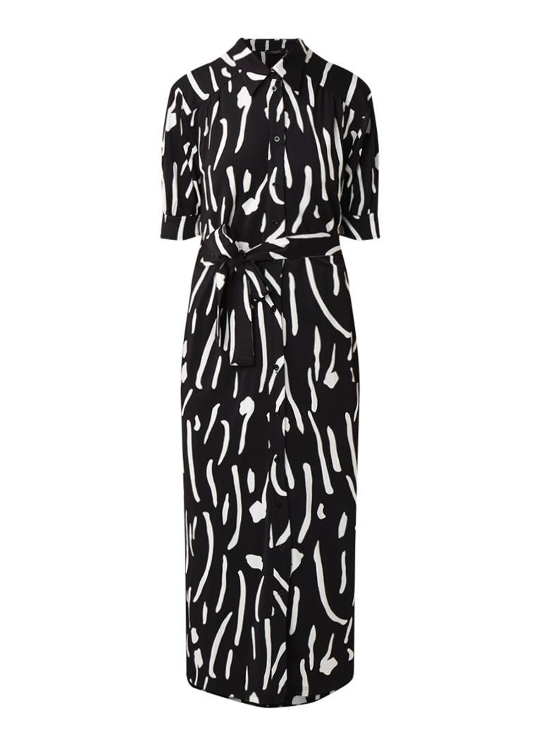 Claudia Sträter Maxi blousejurk met dessin en strikceintuur zwart