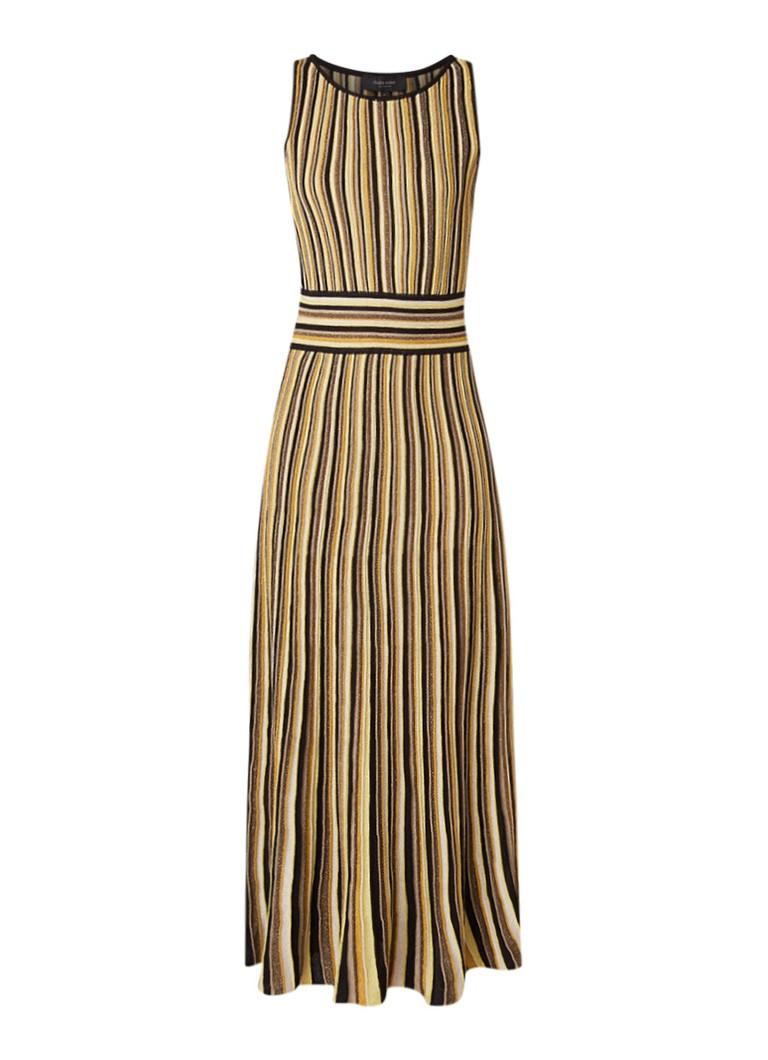 Claudia Sträter Gebreide maxi-jurk met streepdessin en lurex goud