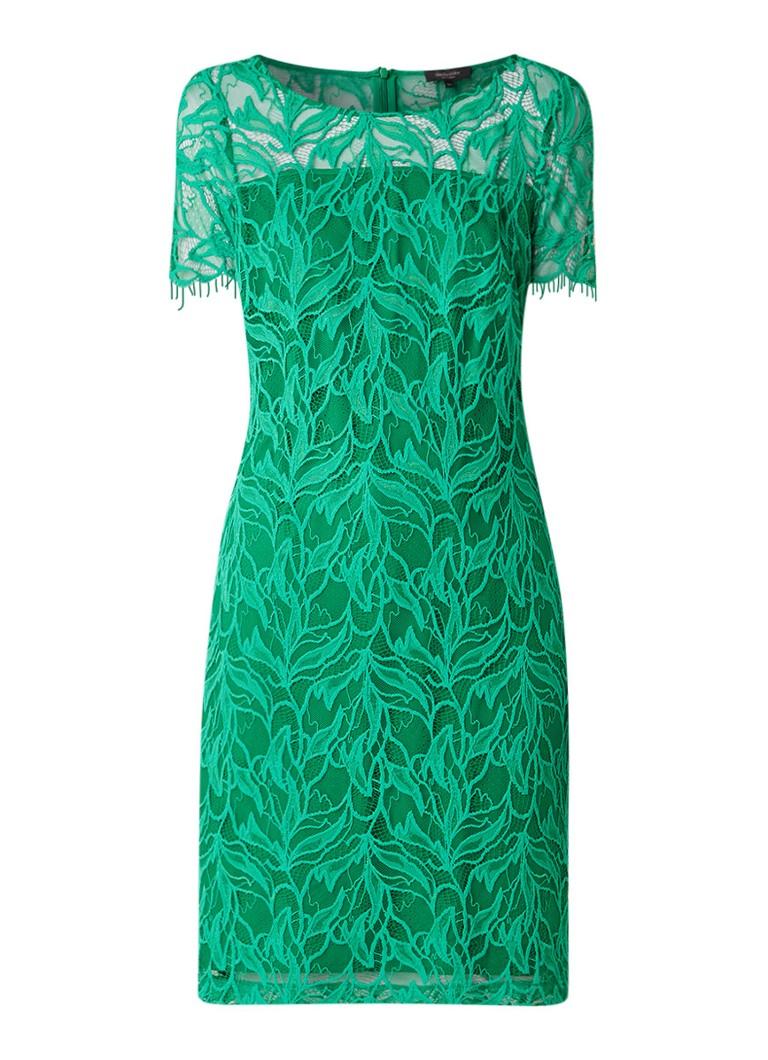 Claudia Sträter Midi-jurk van kant met ronde hals groen