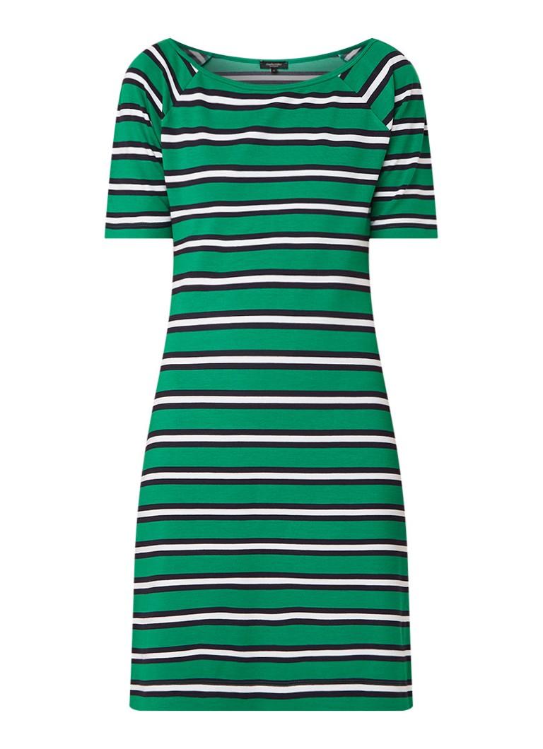 Claudia Sträter Midi-jurk met boothals en streepdessin groen