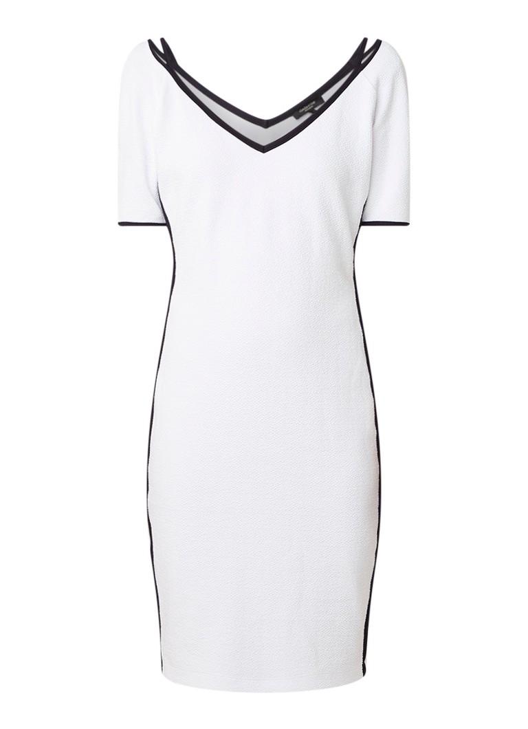 Claudia Sträter Midi-jurk in katoenblend met contrastbies wit