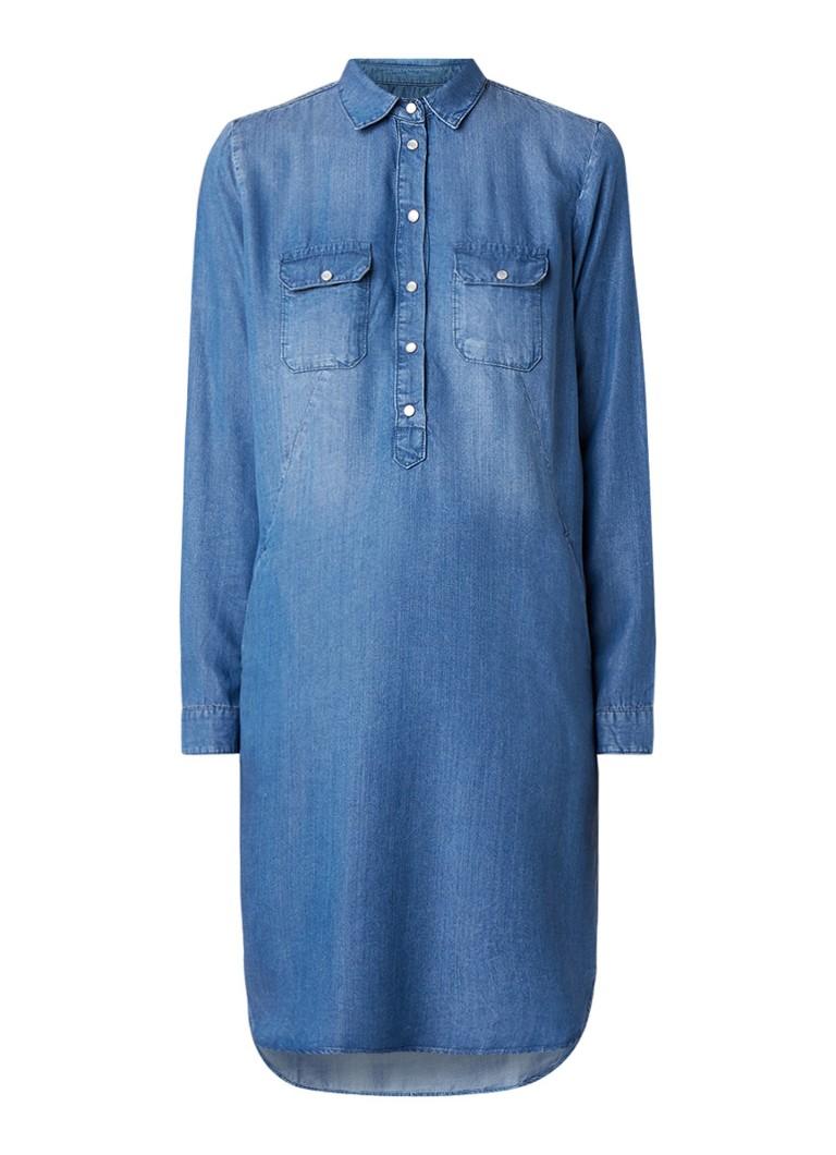 Claudia Sträter Denim blousejurk van lyocell met halve knoopsluiting indigo