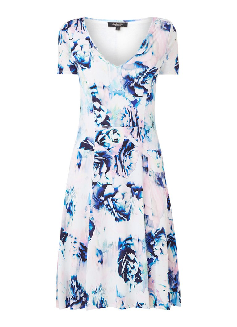 Claudia Sträter Midi-jurk met bloemendessin en V-hals blauw
