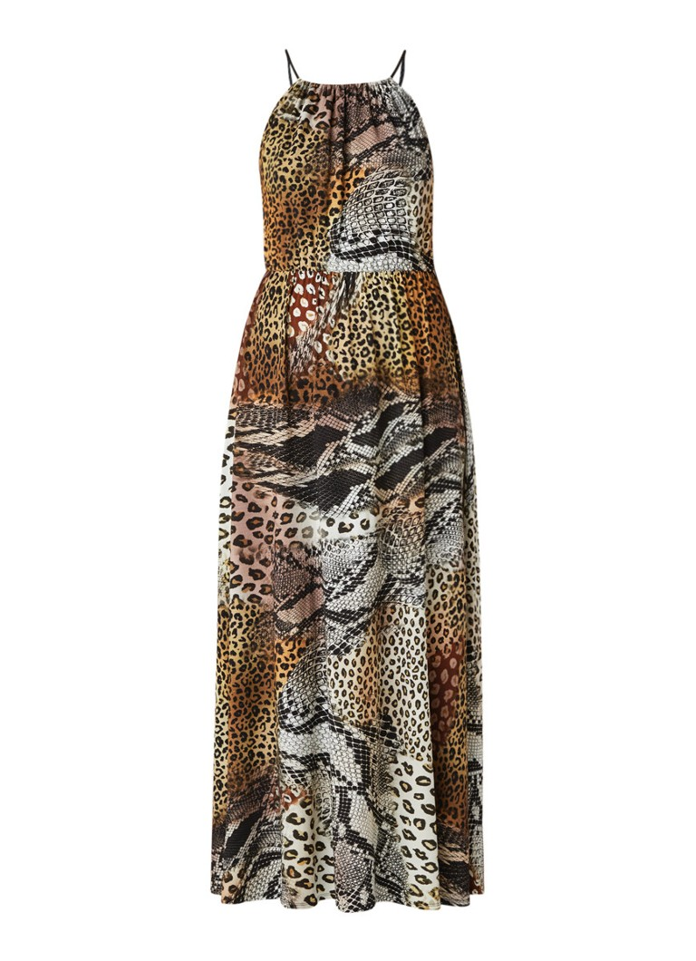 Claudia Sträter Maxi-jurk van jersey met animaldessin lichtbruin