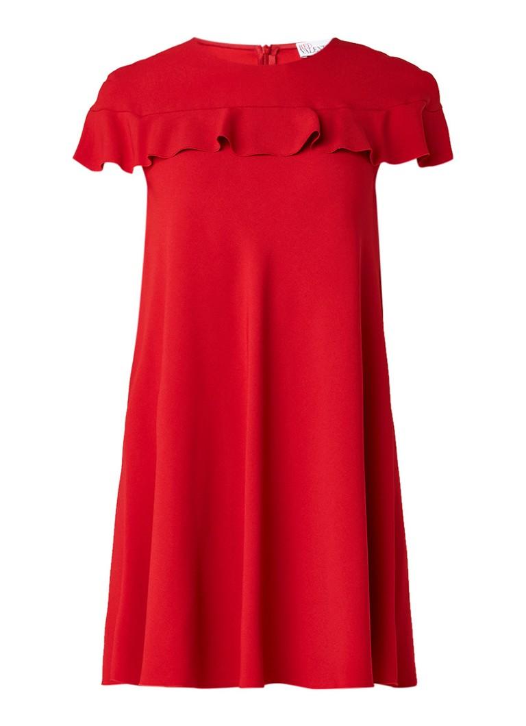 Red Valentino Mini-jurk van crêpe met volant rood